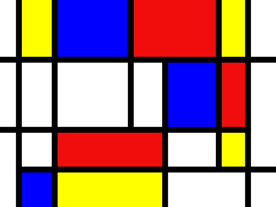 Mondrian, Red, Blue, Yellow, Abstraction, Art