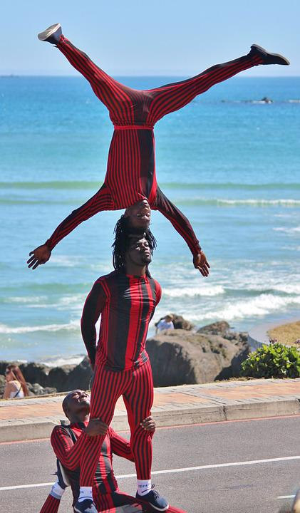 Street Artists, Acrobatics, Standing On Your Head