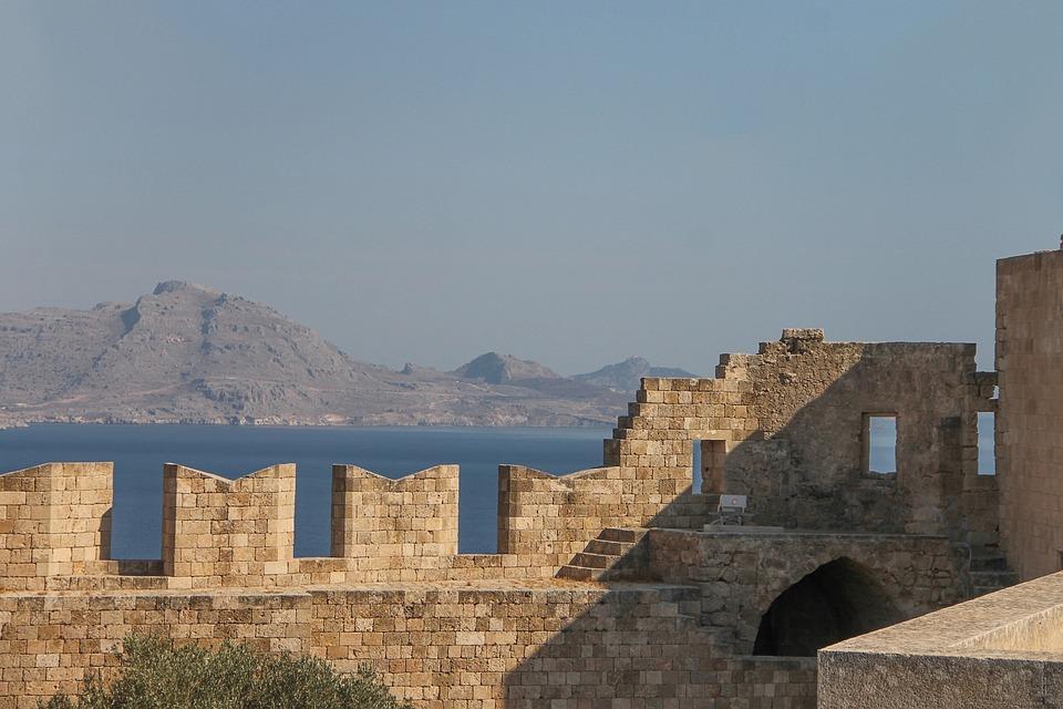 Lindos, Acropolis, Rhodes, Greece, History, Sky, Ruin