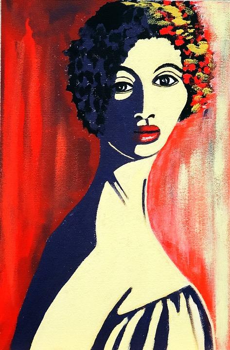 Painted Portrait, Acrylic Paint, Brush Strokes
