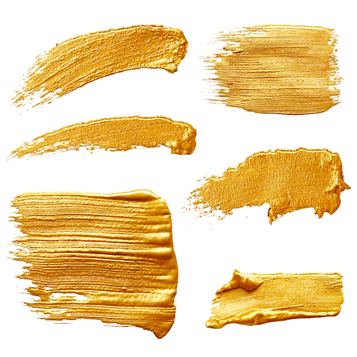 Gold Paint Strokes, Thick Paint, Gold, Acrylic, Paint