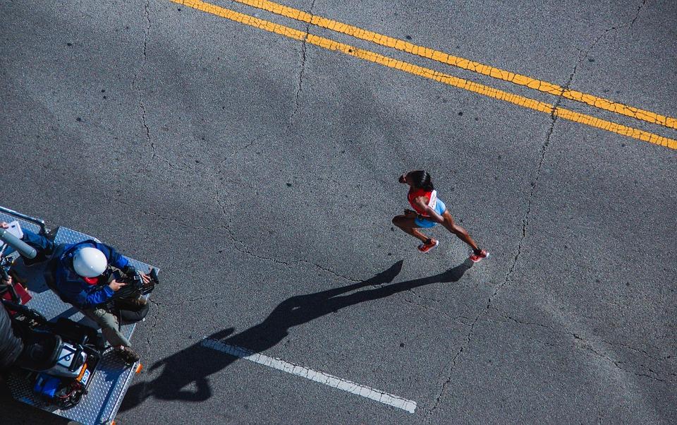 Woman, Action, Marathon, Running, Asphalt, Athlete