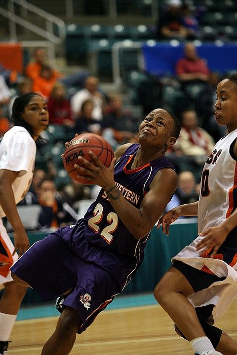 Basketball, Female, Action, Charging, Layup, Sport