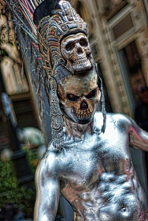 Makeup, Art, Performance, Street, Actor, Skull, Dead