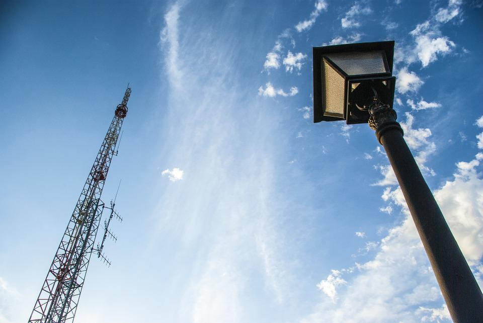 Technology, Street Lamp, Contrast, Blue Sky, Acute