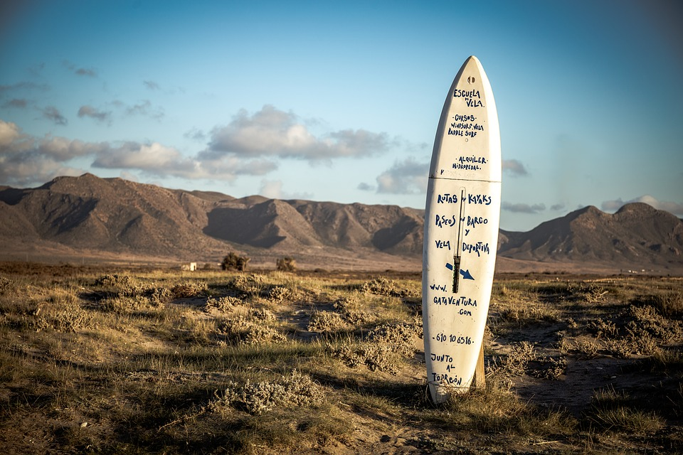 Surfing, Landscape, Sunset, Sign, Ad, Nature, Scenic