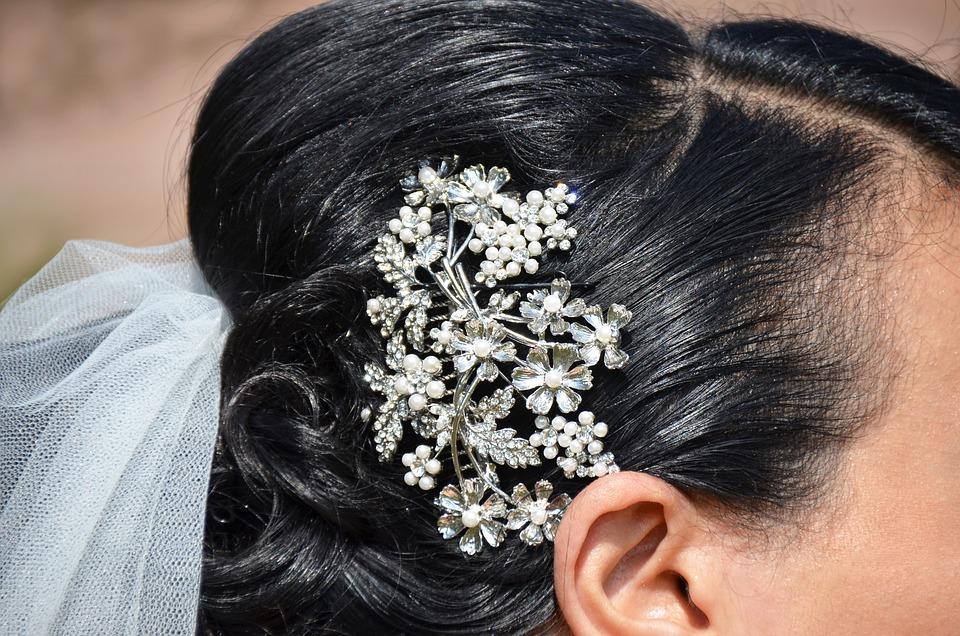Adornment, Hairstyle, Bun, Bride, Hair, Portrait