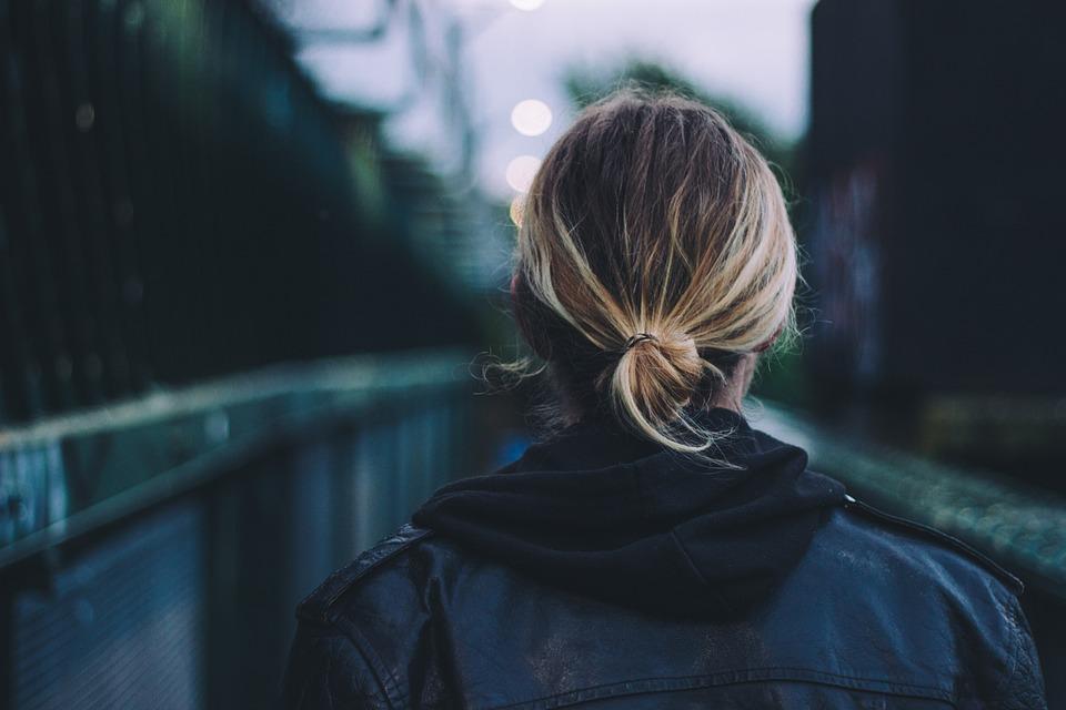 Adult, Back View, Black Leather Jacket, Blonde Hair