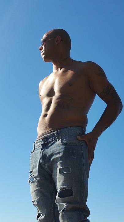 Man, Latino, Adult, Shirtless, Sexy, Denim, Jean