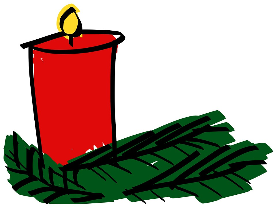 Candle, Comic, Branches, Christmas, Advent