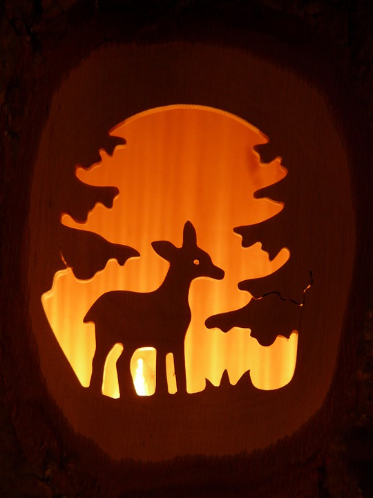 Roe Deer, Forest, Carving, Candle, Advent, Wood