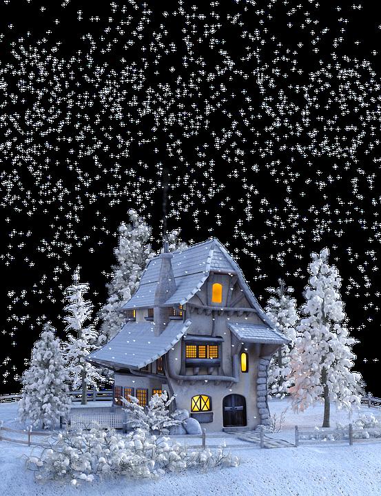 Christmas, Winter, Snow, Snowflakes, House, Advent