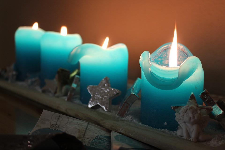 Christmas, Advent Wreath, Candles, Blue, Light, Flame