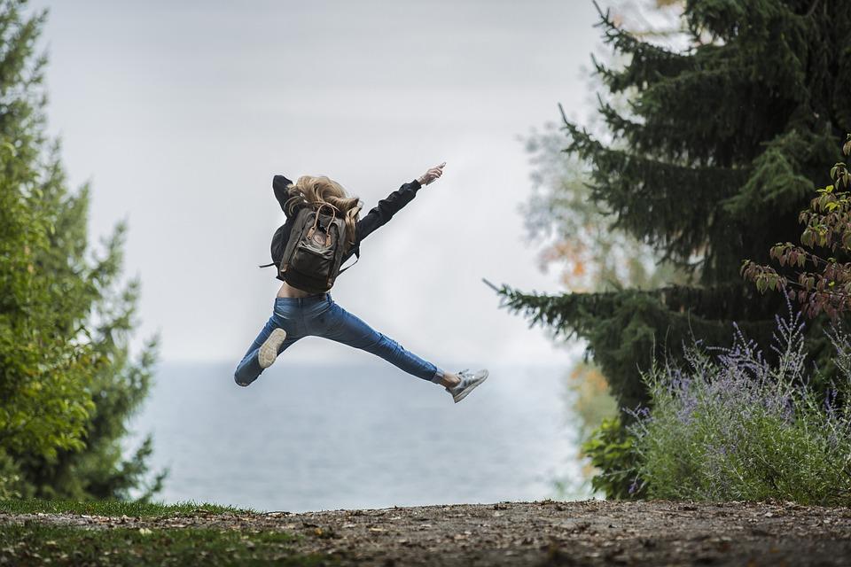 Woman, Jump, Backpack, Jumping, Leap, Adventure