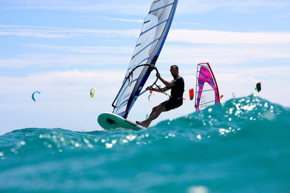 Windsurfing, Wave, Sea, Ocean, Action, Adventure