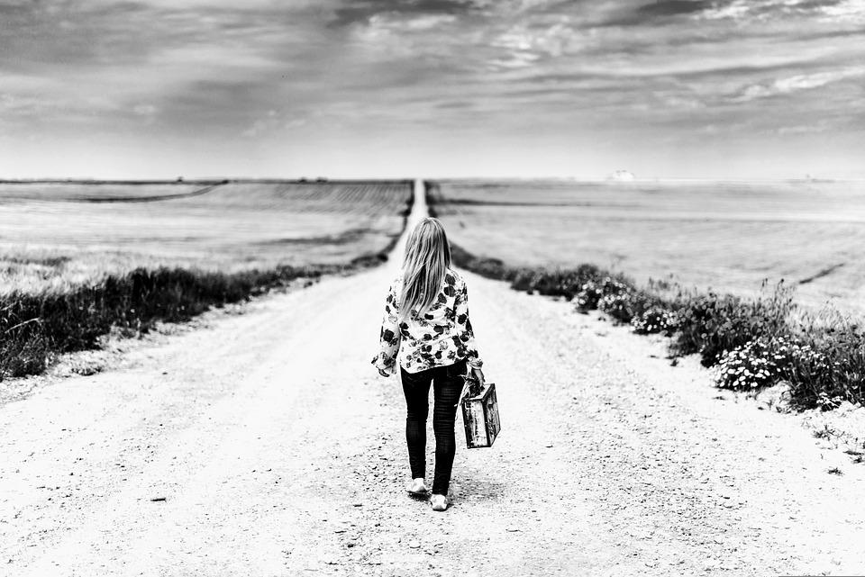 Girl, Journey, Road, Field, Rural, Woman, Adventure
