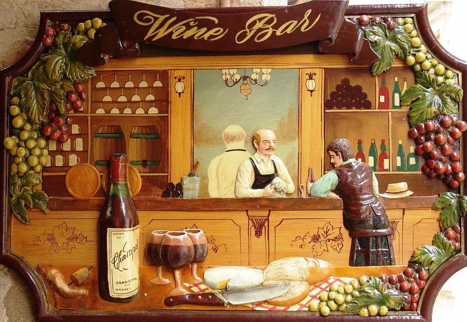 Wine Bar, Advertisement, Shield, Advertising Sign, Wine