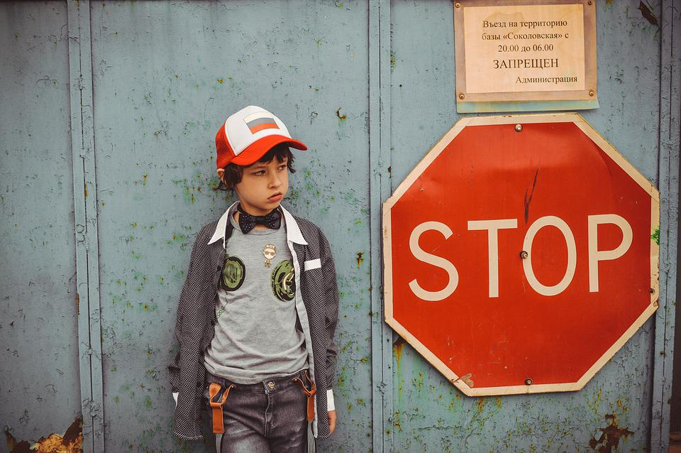 Stop, Boy, Kids, Advertising Clothes, Tomboy, Bully
