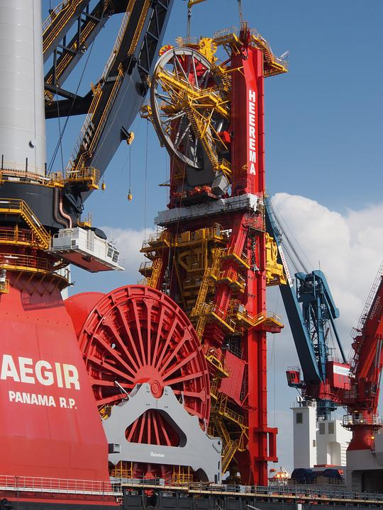 Aegir, Ship, Vessel, Port, Rotterdam, Crane, Bridge