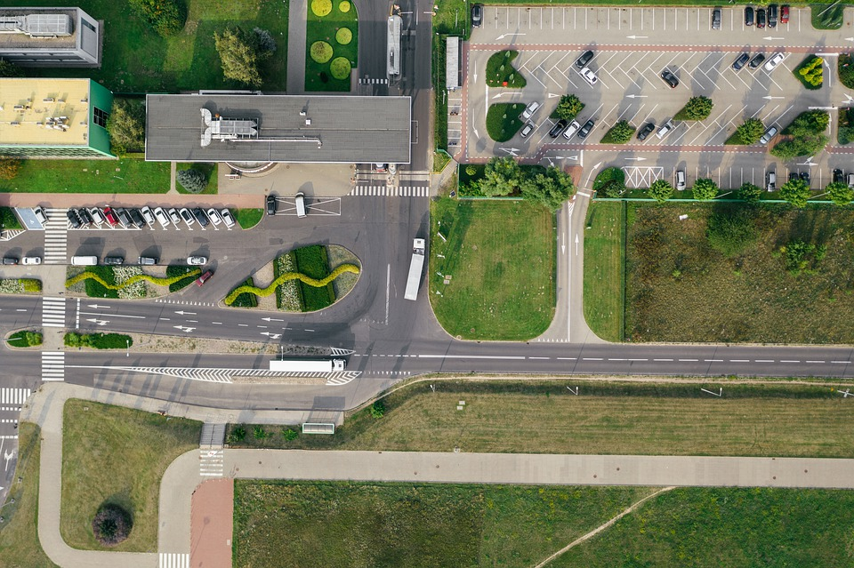 Aerial, Drone, Photography, Parking, Transport