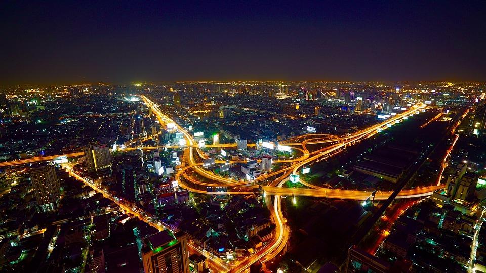 Aerial, Bangkok, City, Night, Traffic, Asia