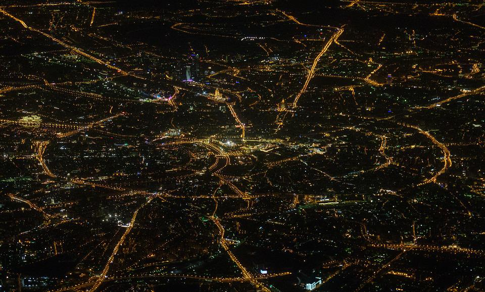 Moscow Night Map Plane View Air Aerial Airplane