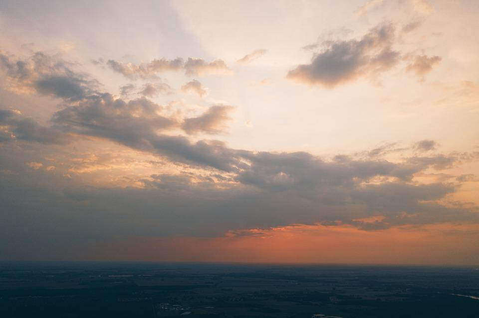 Aerial, Drone, Sunset, Sun, Setting, Late, Evening