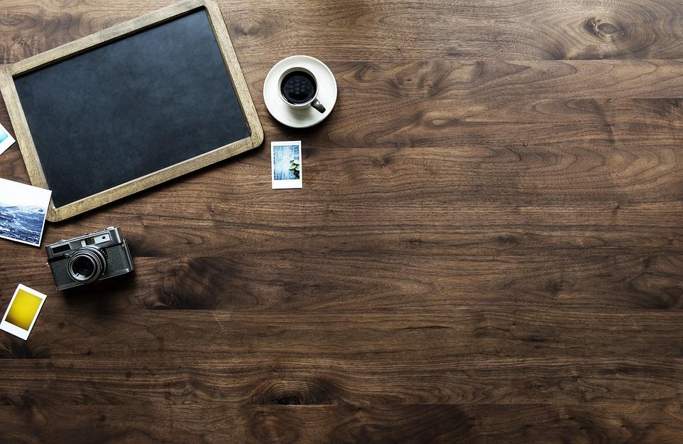 Wood, Wooden, Table, Desktop, Aerial, Analog