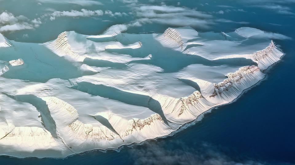 Iceland, Aerial View, Mountains, Ice, Snow, Landscape