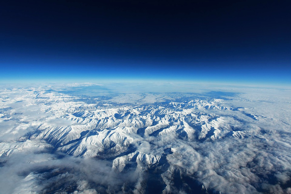 Pyrenees, Mountains, Snow, Landscape, Blue, Aerial View