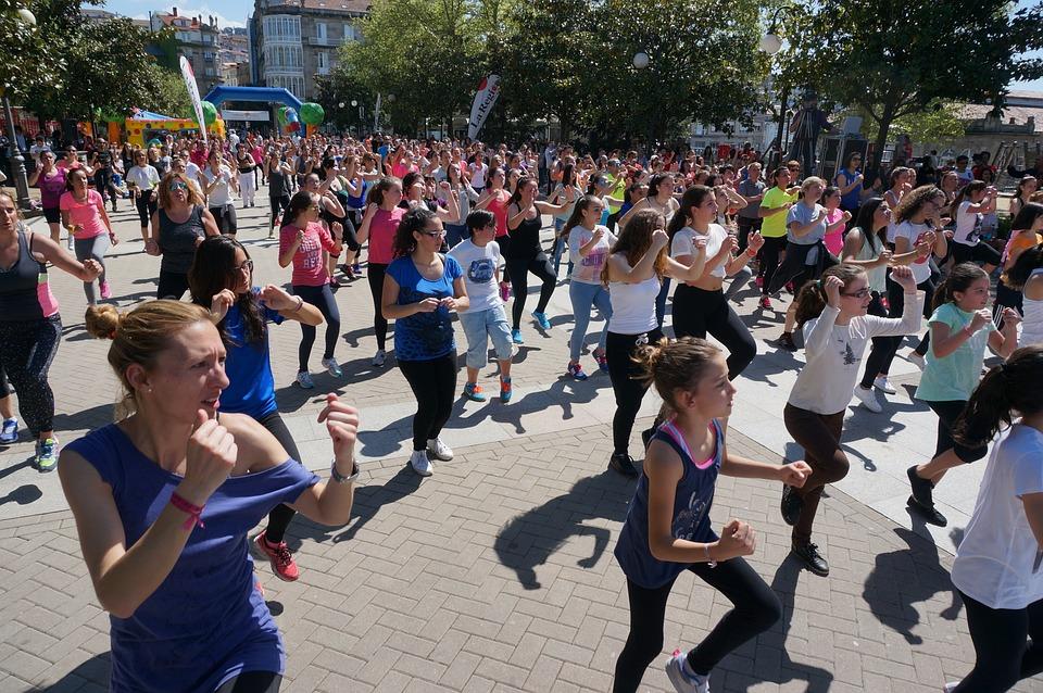 Fitness, Aerobics, Plaza, Public, People, Dance