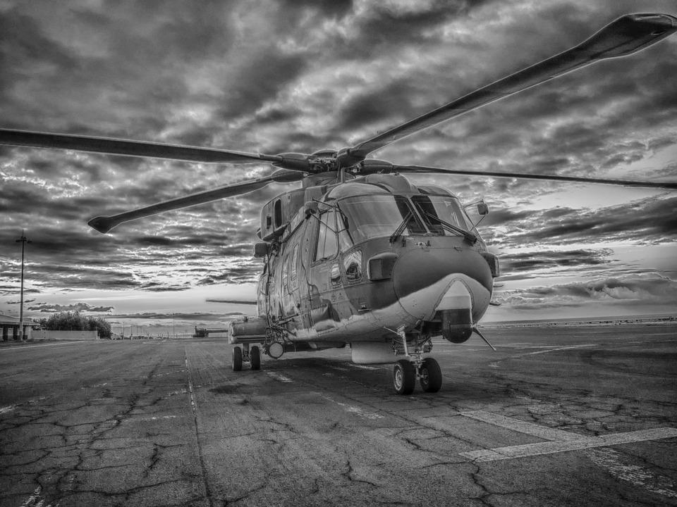 Aviation, Helicopter, Aeronautics, Sky, Monochrome