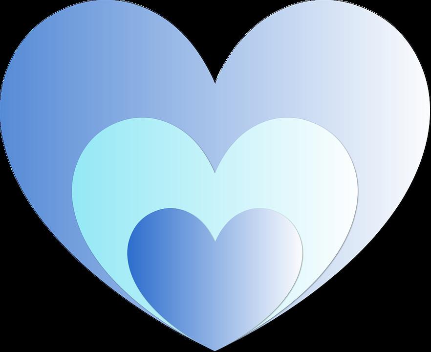 Heart, Hearts, Blue, Love, Affection