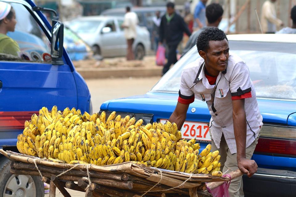 Africa, Seller, Bananas, Fruit, Natural, African