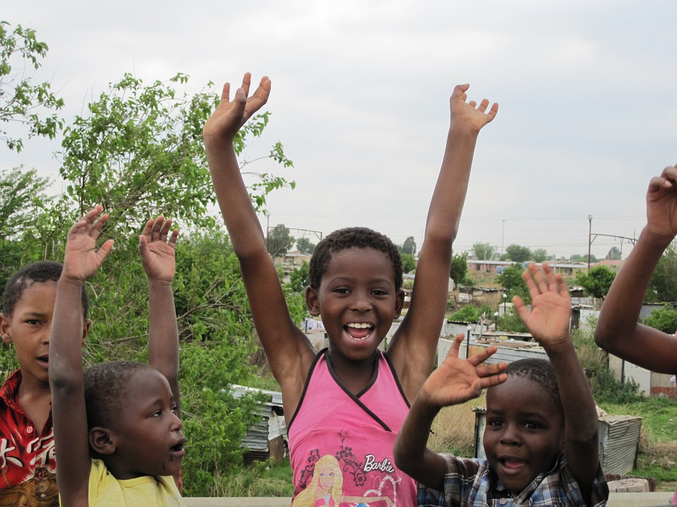 Children, Kids, African, South Africa, Happy, Cheering