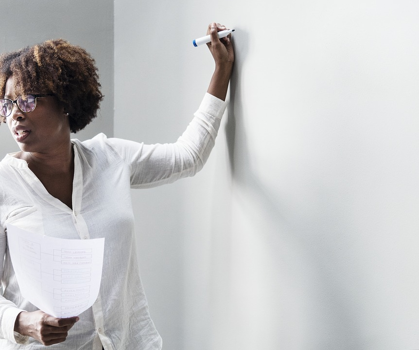 Afro, Board, Brainstorming, Business, Businesswoman