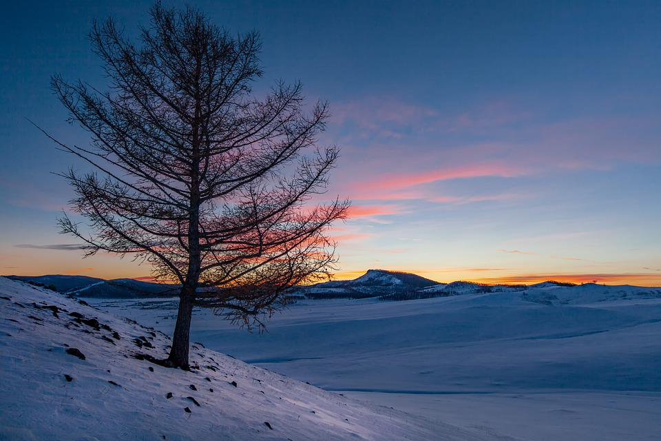 Landscape, Winter, Hill, Snow, After Sunset
