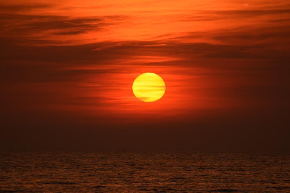 Sunset, Red, Sky, Afterglow, Sun, Evening Sky, Clouds
