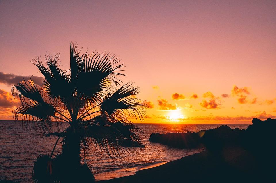 Afterglow, Sky, Sun, Beach, Sunrise, Sea, Ocean