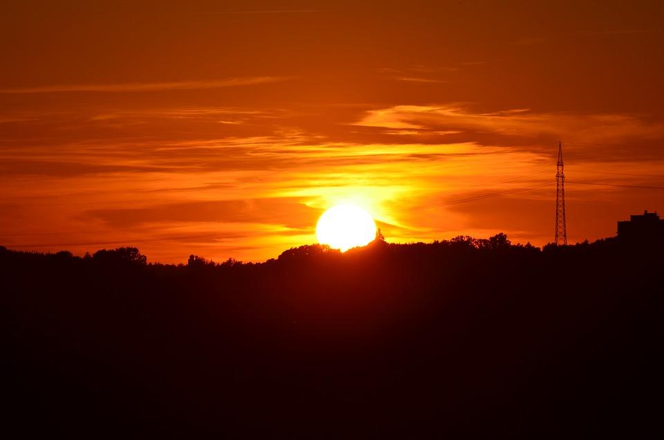 Sunset, Strommast, Power Line, Glow, Afterglow, Romance