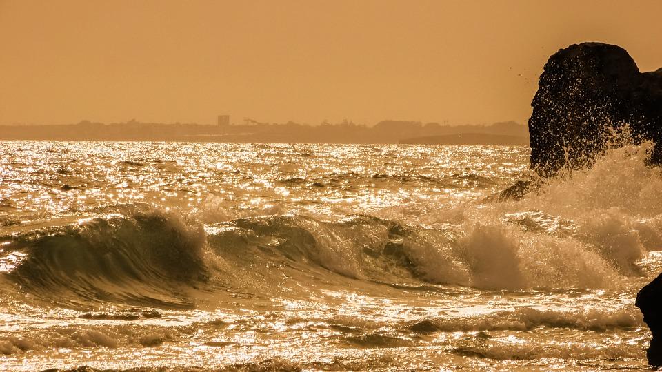 Sea, Wave, Afternoon, Seascape, Sunlight, Energy, Spray