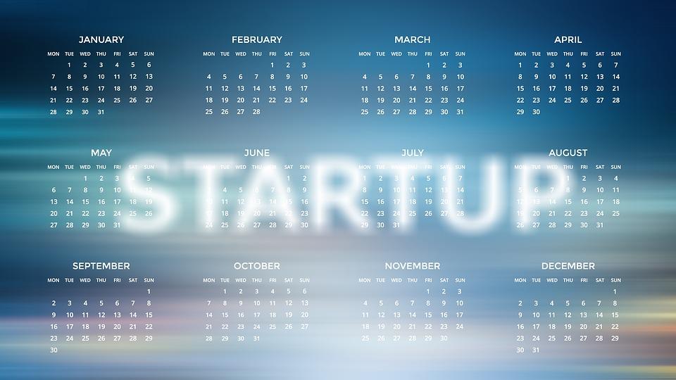Startup, Profession, Career, Agenda, Calendar, 2019