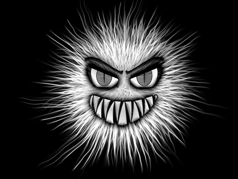 Monster, Black And White, Eyes, Aggressive, Fangs
