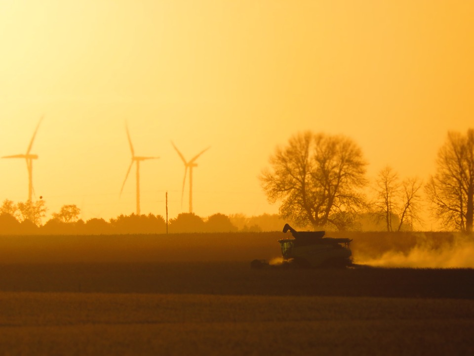 Harvest, Combine, Windmill, Rural, Agriculture, Sunset