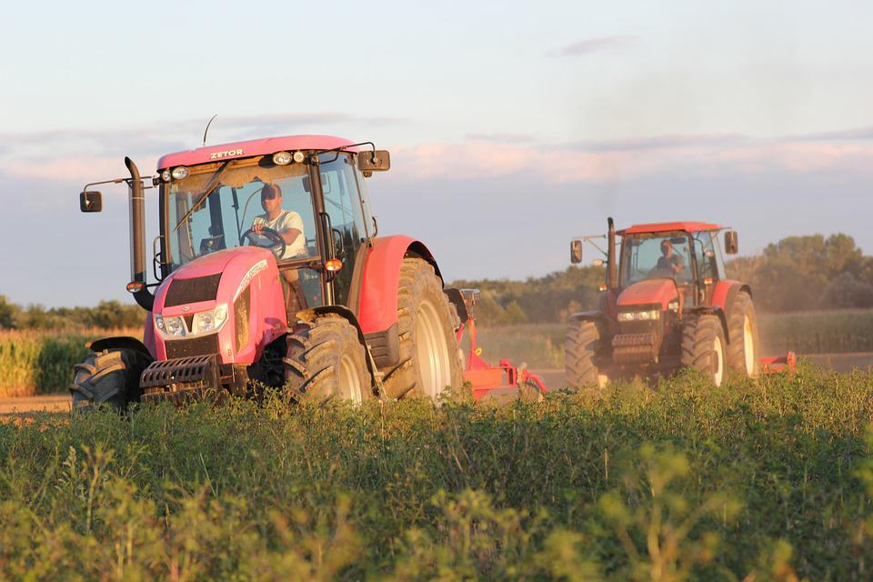 Tractors, Machine, Ploughing, Agriculture, Field, Rural