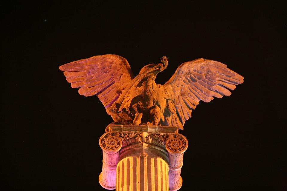 Eagle, Exedra, Column, Plaza, Postal, Aguascalientes