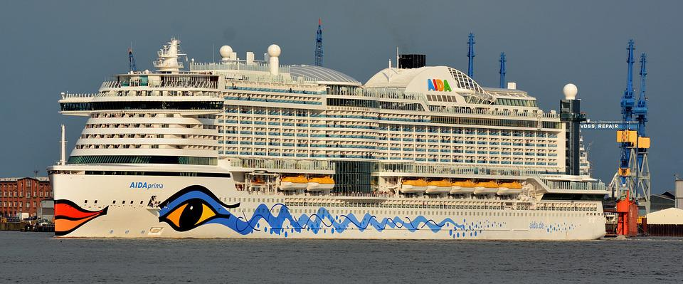 Cruise, Hamburg, Aida Prima, Port, Elbe, Cruise Ship