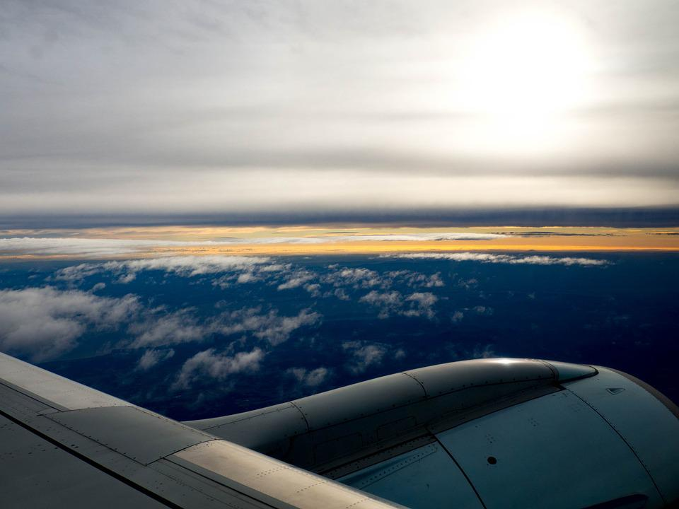 Plane, Air Canada, Clouds, Sunrise, Wing