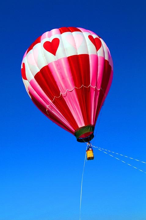 Balloon, Hot Air Balloon, Air, Blue Sky, Heart