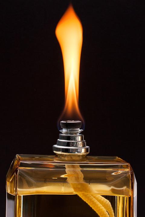 Lamp, Flame, Glass Bottle, Air Improvement, Flacon